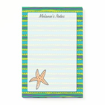 Beach Themed Starfish Personalized 4 x 6 Post-it Notes