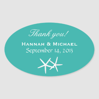 Starfish Personalized Lagoon Blue Oval Favor Label