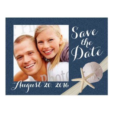 Beach Themed Starfish Photo Save the Date Navy Blue Postcard
