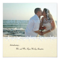 Starfish Photo Wedding Reception Only Invitation