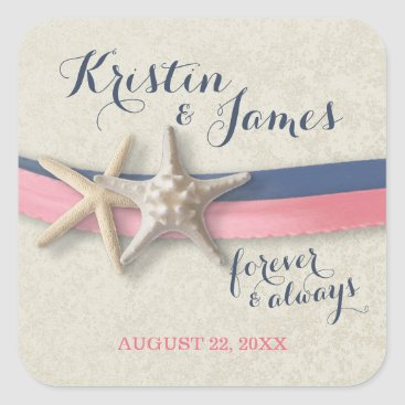 Beach Themed Starfish Pink and Navy Blue  Ribbon Beach Wedding Square Sticker