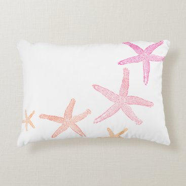 Beach Themed Starfish Pink and Orange Accent Pillow
