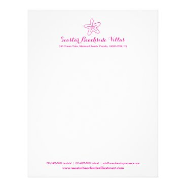 Beach Themed Starfish pink beach property business letter letterhead