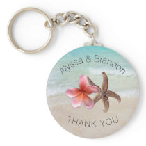 Starfish Plumeria By the Sea Custom Wedding Favor Keychain