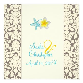 Starfish, plumeria + damask Wedding Invitations