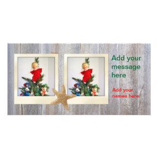 Starfish Polaroid Wood Christmas 2 photos Card