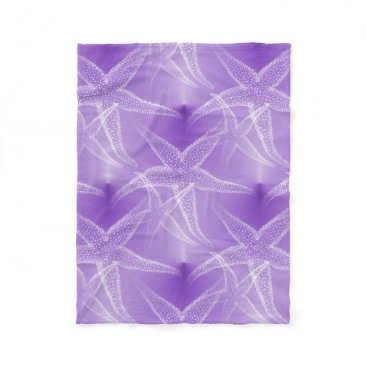 Beach Themed Starfish Purple Beach Fleece Blanket