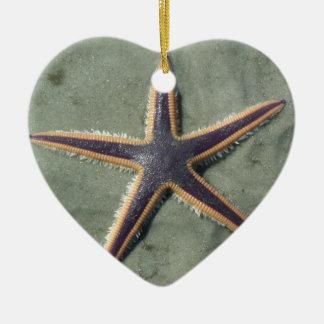 Starfish Purple sea star on beach Ceramic Ornament