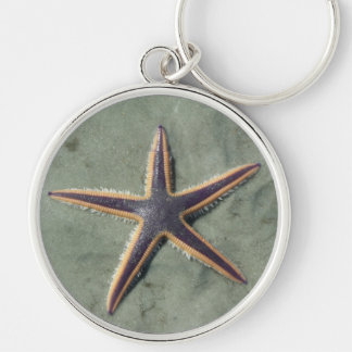 Starfish Purple sea star on beach Key Chains