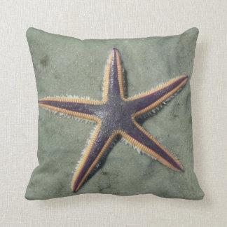 Starfish Purple sea star on beach Throw Pillow