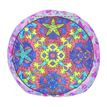 Beach Themed Starfish Rainbow Neon Chevron Aztec Mandala Pink Pouf