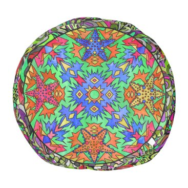Beach Themed Starfish Rainbow Neon Paisley Aztec Mandala Green Pouf