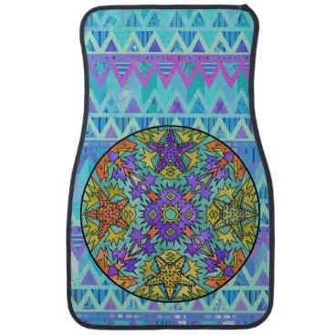 Aztec Themed Starfish Rainbow Pale Aztec Mandala Bright Chevron Car Mat