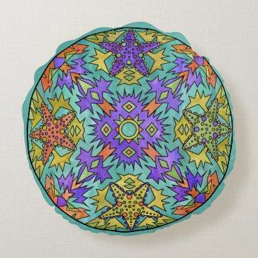 Aztec Themed Starfish Rainbow Pale Aztec Mandala Bright Round Pillow