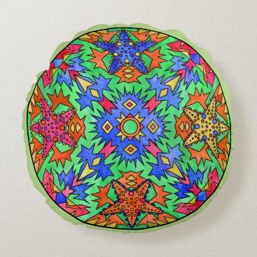 Aztec Themed Starfish Rainbow Pale Aztec Mandala Green Round Pillow