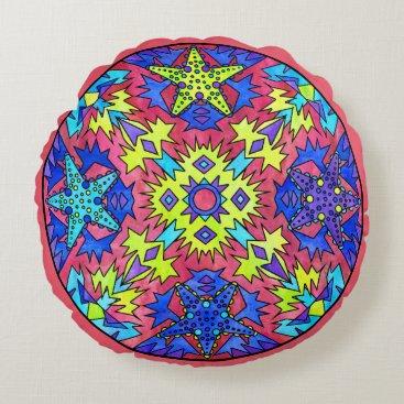 Aztec Themed Starfish Rainbow Pale Aztec Mandala Pink Round Pillow