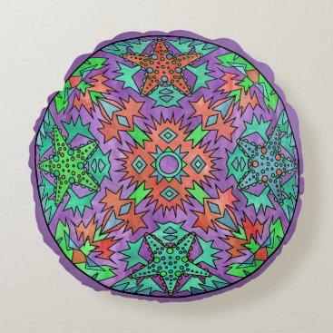 Aztec Themed Starfish Rainbow Pale Aztec Mandala Purple Round Pillow