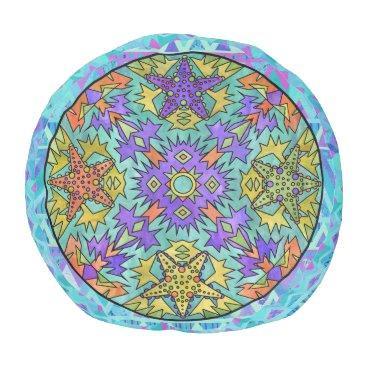 Aztec Themed Starfish Rainbow Pale Chevron Aztec Mandala Blue Pouf