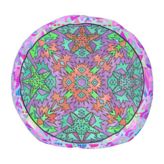 Starfish Rainbow Pale Chevron Aztec Mandala Purple Round Pouf