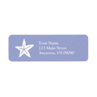 Starfish Return Address Label (Purple / White)