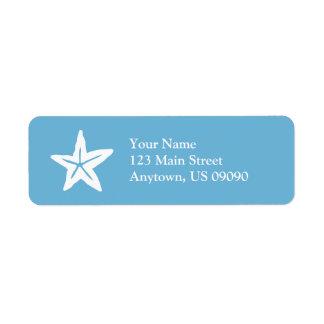 Starfish Return Address Label (Sky Blue / White)