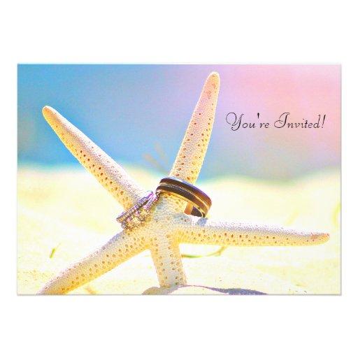 Starfish Rings Destination Wedding Invitations
