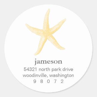 Starfish Round Address Label