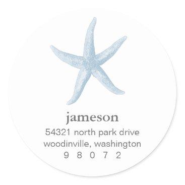 Beach Themed Starfish Round Address Label