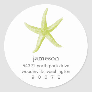 Starfish Round Address Label Classic Round Sticker