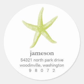 Starfish Round Address Label Sticker