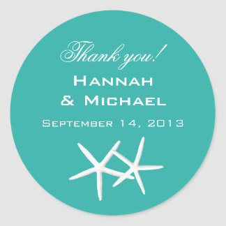 """Starfish Round """"Thank You"""" Reception Favor Labels"""