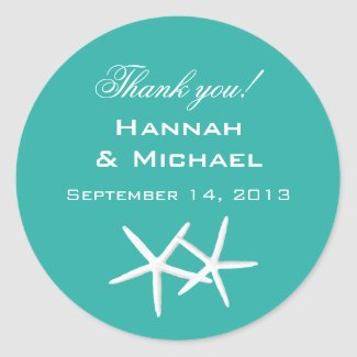 """Starfish Round """"Thank You"""" Reception Favour Labels Round Stickers"""
