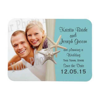 Starfish Rustic Aqua Blue Save the Date Photo Magnet