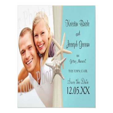 Beach Themed Starfish Rustic Beach Starfish Save the Date Magnetic Card