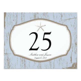 Starfish Rustic Beach Table Number Card