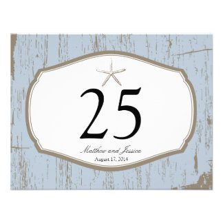 Starfish Rustic Beach Table Number Personalized Announcement