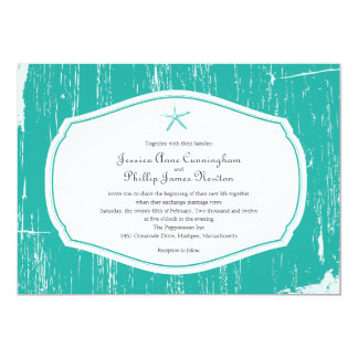 Starfish Rustic Beach Wedding Card