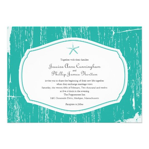 Starfish Rustic Beach Wedding Custom Invitation