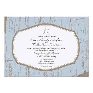 Starfish Rustic Beach Wedding Invitations