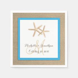 Starfish Rustic Burlap Beach Wedding Napkin