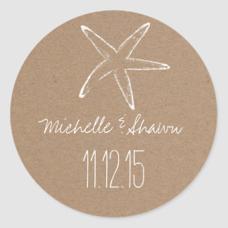 Starfish Rustic Kraft Paper Wedding Favor Classic Round Sticker