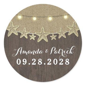 Beach Themed Starfish Rustic Lights Beach Wedding Favor Classic Round Sticker