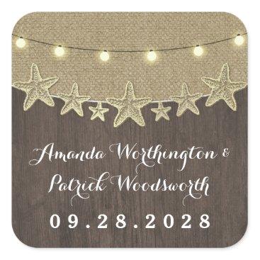 Beach Themed Starfish Rustic Lights Beach Wedding Favor Square Sticker