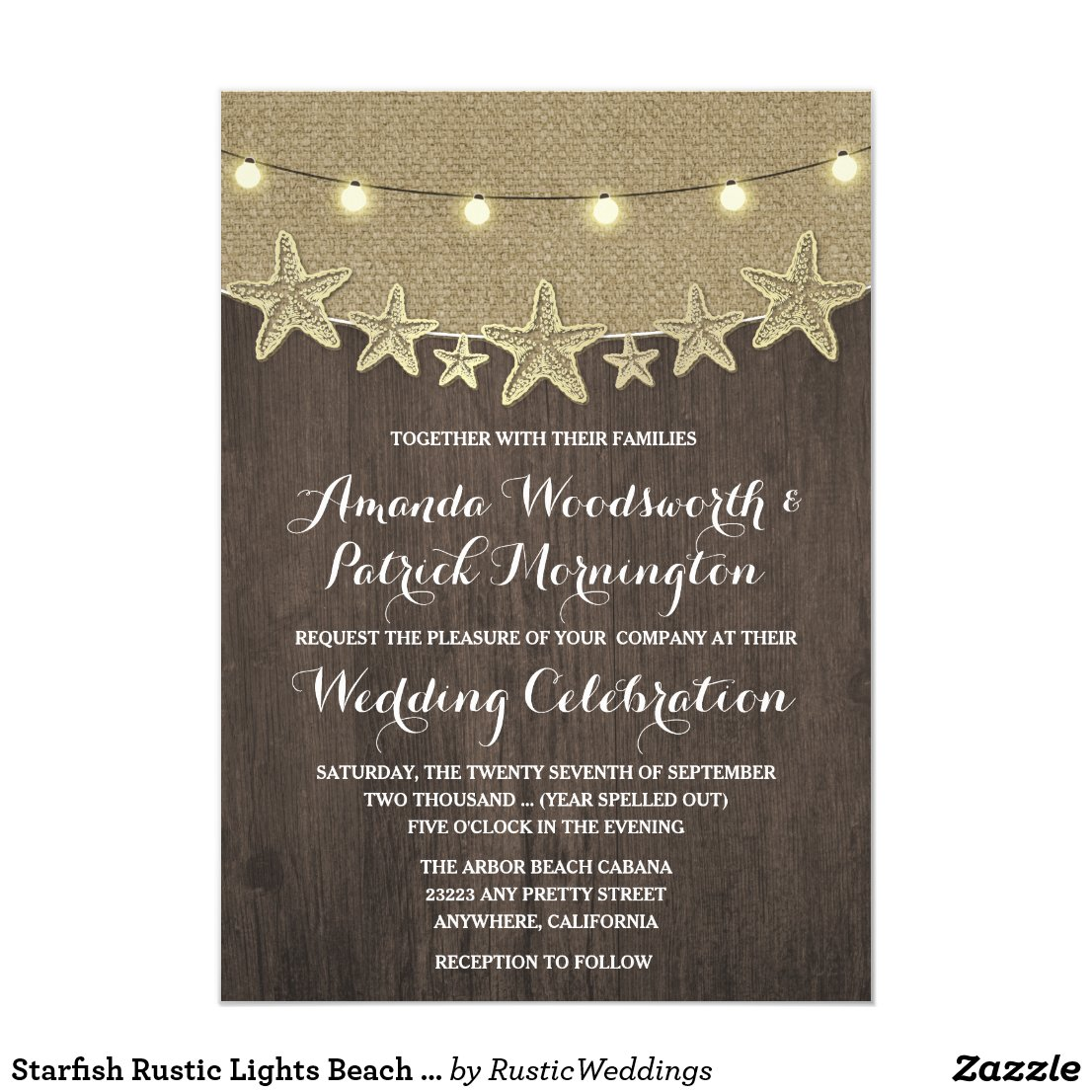 Starfish Rustic Lights Beach Wedding Invitations
