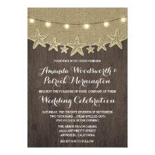 Starfish Rustic Lights Beach Wedding Invitations