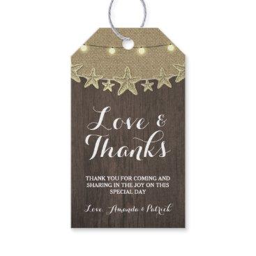 Beach Themed Starfish Rustic Lights Beach Wedding Thank You Gift Tags