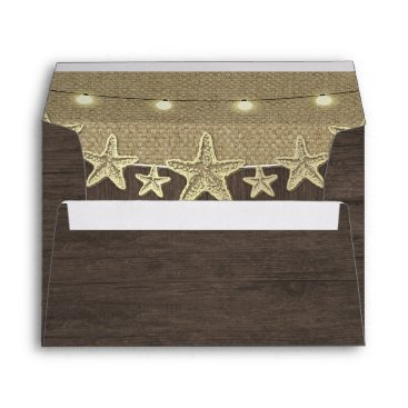 Beach Themed Starfish Rustic Lights Beach Wood Wedding Envelope