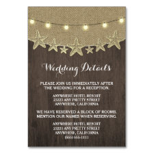 Starfish Rustic Lights Wedding Enclosure Cards