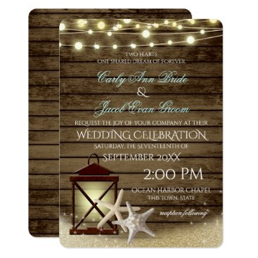 happygotimes Starfish Rustic Ocean Wood and Lights Card
