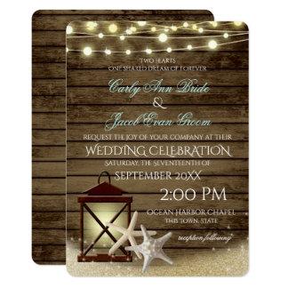 Starfish Rustic Ocean Wood and Lights Invitation